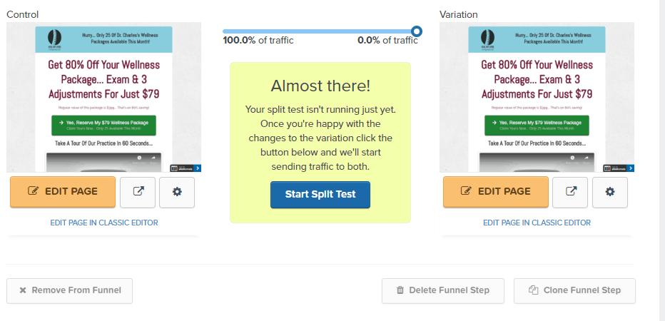 Split Test Variation ClickFunnels