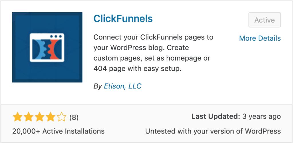 Clickfunnels WordPress Plugin Screenshot