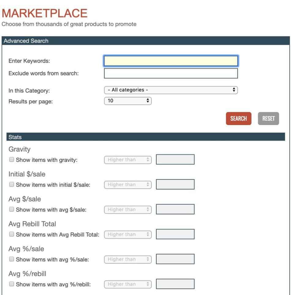 Clickbank Advanced Search