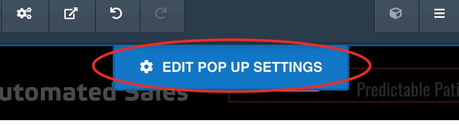 Edit Pop Up Settings