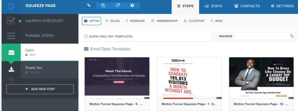clickfunnels squeeze page templates