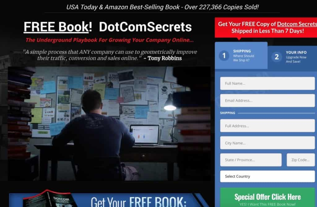 Dotcom Secrets Free Plus Shipping Offer