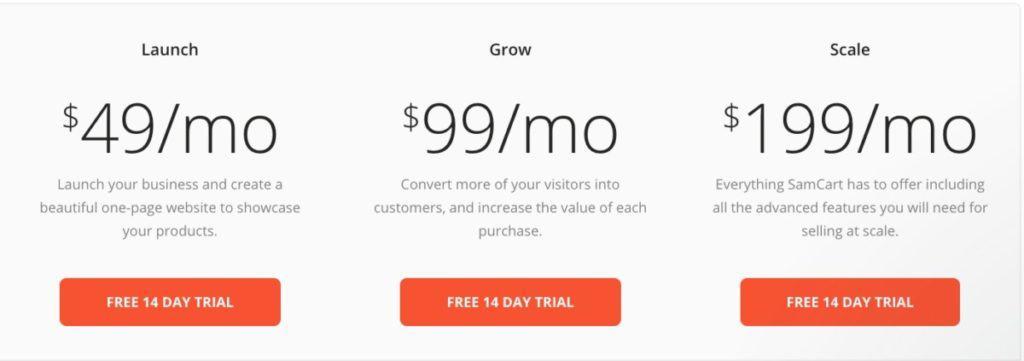 SamCart Pricing Options